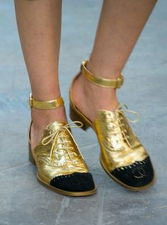 T's Daily Shoe: Sweet Ankle-Strap Shoes at Chanel's Riot in the Streets. PFW #SS15. (Photo: Valerio Mezzanotti)