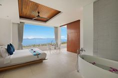 Exclusively Managed by Luxury Villas & Homes Koh Samui Thailand, Sky Garden, Plunge Pool, Black Decor, Stunning View, Luxury Villa, Great View, How To Fall Asleep, Sun Lounger