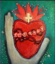 Sacred Heart Mixed media painting