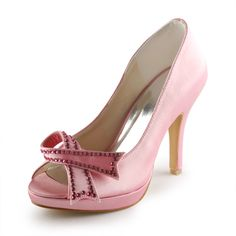 faae9f801bb Søte Rosa Brudesko Satin Stiletter Peep Toe Pumps Med Bowknot. Pink  HeelsPeep ...