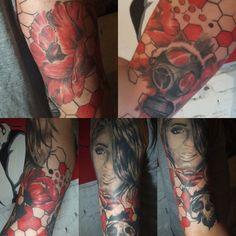 Full sleeve in progress Four Square, Tattoos, Sleeve, Beautiful, Manga, Tatuajes, Tattoo, Finger, Manche