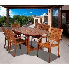 Amazonia Orlando 7pc Oval Eucalyptus Patio Dining Set