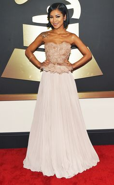 Jhene Aiko from 2015 Grammys...Pretty, great start for that special bridal look. Try different combinations of embellishment to create that ultimate bridal look.