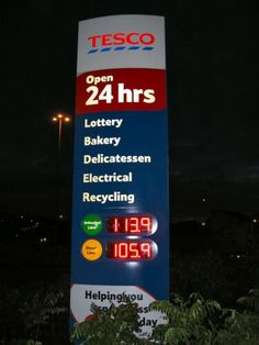 Double sided LED fuel price display for Tesco; 4 characters in 260mm height; Red LEDs, 70 viewing Angle, 1200mcd brightness level.