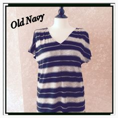 NEW Jacquard V-Neck Tee Top Black Stripe M NEW Old Navy Jacquard V-Neck Top Black Stripe Medium M Double Vback with strap across back of neckline Short Dolman Sleeves Relaxed fit Polyester blend  Trades Old Navy Tops Tees - Short Sleeve
