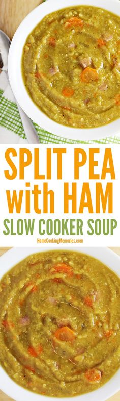 This Slow Cooker Split Pea Soup with Ham recipe is not only easy to make, but filling and perfect for cold weather. Made with dry split peas, ham, onion, and carrots. This Crock-Pot soup is also a great way to use up leftover holiday ham. Ham Recipes, Chili Recipes, Crockpot Recipes, Soup Recipes, Cooking Recipes, Crock Pot Soup, Slow Cooker Soup, Pressure Cooker Recipes, Split Pea Soup Recipe