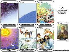 La Creacion de Dios-Para Colorear y de Color Bible For Kids, Too Cool For School, Sunday School, Diy And Crafts, Creations, Comics, Cards, Grande, Goku