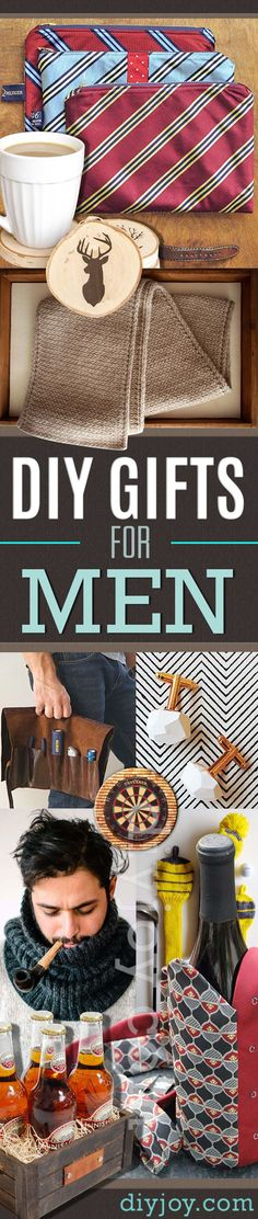 Best DIY Gifts for Men and Homemade Craft Ideas for Boyfriend, Dad, Brother, Father and Husband http://diyjoy.com/diy-gifts-for-men-pinterest