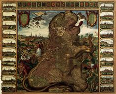 the Younger Lion Map (Leo Belgicus) (detail) 1609 Coloured etching and engraving Stichting Atlas van Stolk, Rotterdam Leo, Visualisation, The Republic, Cartography, 17th Century, Les Oeuvres, Netherlands, Holland, Dutch