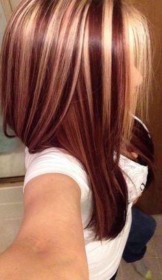 Blond Und Rot-Höhepunkte Für Dunkle Braun Haare