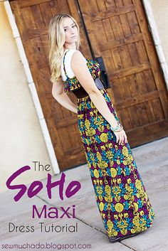 SoHo Maxi Dress Tutorial  ...the fabric doesn't work for me, but this is a free pattern and tutorial for working with knits....I'm thinking beach dress!  : )  @Keri Always