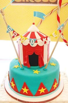 Check out this spectacular circus-themed baby shower! The cake is wonderful! See more party ideas and share yours at CatchMyParty.com #catchmyparty #partyideas #circus #circusparty #babyshower #cake