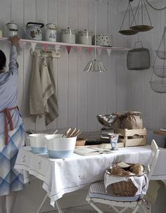 Farmhouse Kitchen ~ The vintage tablecloth is calling my name... LOVE!
