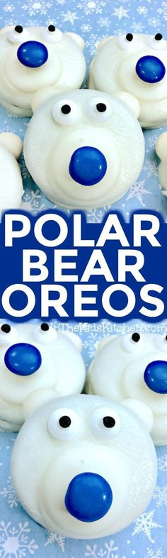 maybe find GF oreo cookies! / / Polar Bear Cookies are a frozen fun winter-themed kids treat or holiday party dessert Easy chocolate dipped recipe to make with kids of all ages. Christmas Sweets, Noel Christmas, Holiday Cookies, Holiday Baking, Christmas Desserts, Holiday Treats, Christmas Baking, Winter Desserts, Xmas