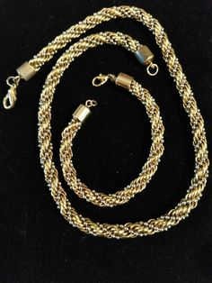 Two Tone Gold Silver Tone Twist Rope Chain Necklace Earring Set #Unbranded