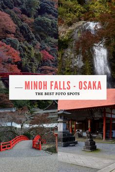 """Things to do in Osaka, Japan: Visit Minoh Falls! In late autumn when the autumn leaves start to change into beautiful colors. Find the best foto spots and places  in Osaka to get the beauty of """"koyo"""". #osaka #falls #waterfall #autumn #leaves #minohpark #koyo"""