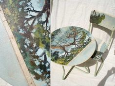 Hand-painted table and chair by Swarm