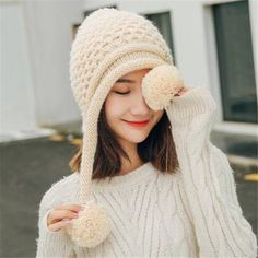 c2195805730 Womens winter hats with ear flaps fleece knit hats with metal butterfly