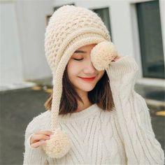 36d4e6fcda3 Womens winter hats with ear flaps fleece knit hats with metal butterfly
