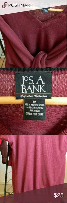 Jos A Bank v neck 100% merino wool sweater Very clean, Long sleeve Burgundy sweater. Very thin, no holes, no stains. JoS A BANK Sweaters V-Neck