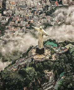 High above Christ The Redeemer, Rio de Janeiro, Brazil. photo by: Adventure Photos, Adventure Travel, Lonely Planet, Places Around The World, Travel Around The World, Wonderful Places, Beautiful Places, Christ The Redeemer Statue, Napoleon Hill