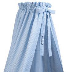 Babybett Himmel mit Namen Vichykaro blau 145cm