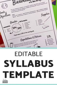 Check out this EDITABLE syllabus template for a middle school or high school secondary Spanish class! Easily edit this creative syllabus using Google Slides or Powerpoint. Perfect visual layout, without large paragraphs or chunks of text! Make sure your classroom is back to school ready with this cute template including expectations, procedures, policies, contact info, and more! Click to see more! #spanishclass #secondaryspanish Middle School Syllabus, Class Syllabus, Middle School Spanish, Classroom Expectations, Classroom Rules, Classroom Design, Classroom Ideas, Syllabus Template, School Template