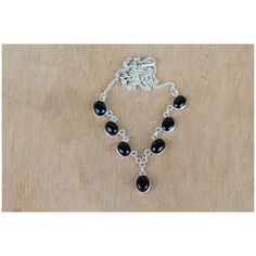 Remarkable Black Onyx And Silver Necklace via Polyvore featuring jewelry, necklaces, black onyx silver jewelry, silver jewelry, black onyx necklace, silver necklace and silver jewellery