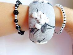 """Купить Комплект браслетов """"Холодные ягоды"""" - темно-серый, комплект браслетов, браслет, натуральные камни"""