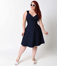 1fa8e1479cb Plus Size. Pin Up DressesPlus Size DressesBlue DressesCurvy ModelsPin Up  StyleSwing DressFlare ...