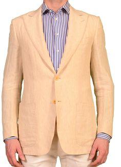 """KITON Napoli """"CIPA 1960"""" Beige Linen Jacket EU 48 NEW US 36 38 R9 Slim Fit"""