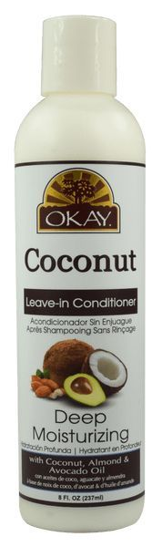 OKAY® Deep Moisturizing Coconut leave-in Conditioner provides nourishing hydration to dry brittle hair. It replenishes nutrients that provide shine and luster leaving hair manageable and beautiful. Di