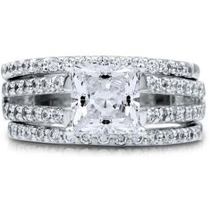 BERRICLE Silver Princess CZ Solitaire Engagement Split Shank Ring Set... (£105) ❤ liked on Polyvore featuring jewelry, rings, 3 piece split shank ring set, clear, sterling silver, women's accessories, wedding rings, princess cut engagement rings, silver engagement rings and anniversary rings