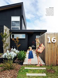 Nice black exterior and contrasting succulent plants