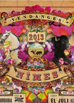 Création de l'affiche de la féria de Nimes 2013 par les artistes du Toril. 10 rue des greffes à Nimes. torildaristes.com