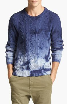 Scotch & Soda Tie Dye Cable Knit Crewneck Sweater available at #Nordstrom