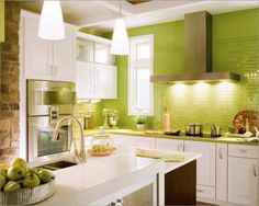 White Kitchen Green Walls white cabinets, lime green walls, med tone wood | dream home style