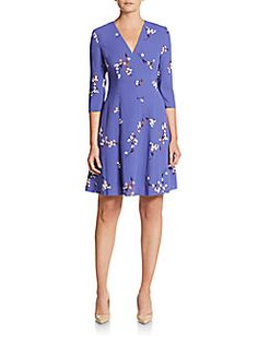 Anne Klein - Floral Print Fit-And-Flare Dress