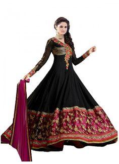 Fabulous Heavy Embroidered Black Floor Length Anarkali Suit