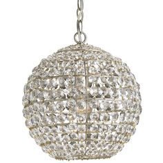 Currey and Company 9005 Roundabout 1 Light Pendant in Silver Leaf