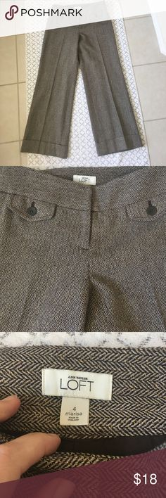 LOFT Marisa Fit Wide Leg Pants EUC, LOFT Marisa fit wide leg trousers.  Brown/tan with metallic gold threading throughout.  See pictures for measurements LOFT Pants Wide Leg