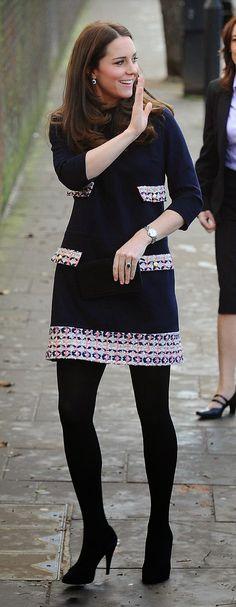 Catherine, Duchess of Cambridge arrives at the Barlby Primary School in London's Ladbroke Grove