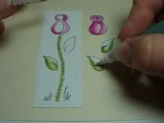 Tombow Tulip/Rose Bud Tutorial Brush Pen Art, Tombow Dual Brush Pen, Tombow Markers, Brush Markers, Doodle Drawings, Doodle Art, Scrapbook Pages, Scrapbooking, Watercolor Pencils