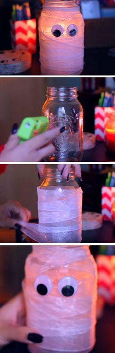 Mummy Mason Jar | 19 DIY Halloween Party Ideas for Teens that are totally spooktacular!