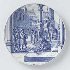 Bord met de geseling van Jezus, Dammas Hofdijck, Hendrick Goltzius, ca. 1700 - ca. 1725