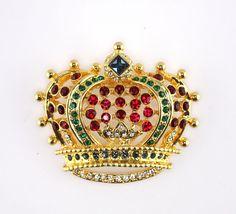 Signed KJL Jeweled Rhinestone Crown Brooch #KJLKennethJayLane