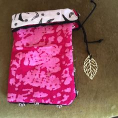 Tarot Card Bag,  Cotton, Fully Lined, Fits Wider Decks, Bright Pink , Black and White Inner, Top Drawstring, Hand Beaded Trim, Leaf Charm by BelleRowan on Etsy