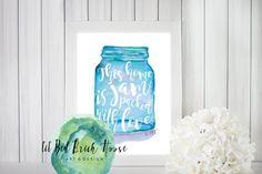 Jam Packed With Love// Watercolor Print// ball mason jar printable by LilRedBrickHouse Ball Mason Jars, Red Bricks, Hand Painted Signs, Watercolor Print, Home Art, Original Art, Printables, Etsy Shop, Crafty