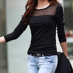 Vintage Jewel Neck Long Sleeves Solid Color Hollow Out T-Shirt For Women T-Shirts | RoseGal.com