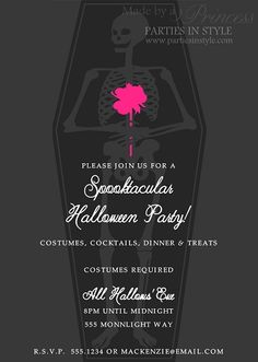 Skeleton in Coffin Halloween Party Invitation  $15  www.partiesinstyle.com